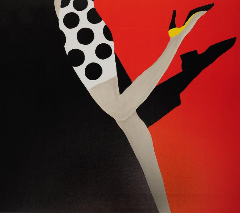 Original Vintage Bally Poster Iconic Ball Design by Villemot Fashion Shoes Brand In Good Condition For Sale In London, GB