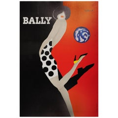 Original Vintage Bally Poster Iconic Ball Design by Villemot Fashion Shoes Brand