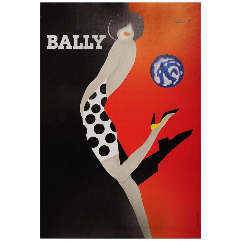 Original Vintage Bally Poster Iconic Ball Design by Villemot Fashion Shoes Brand For Sale