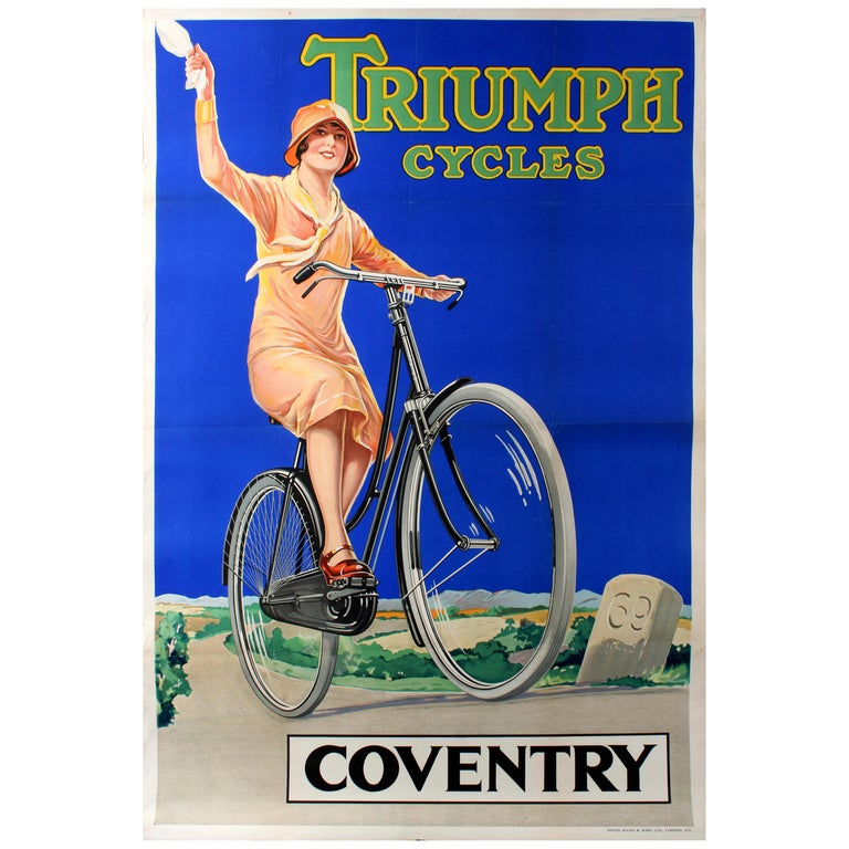 Original Vintage Bicycle Advertising Poster for Triumph Cycles Coventry 69 For Sale