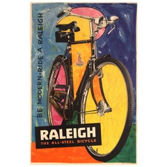 Original Vintage Bike Poster Be Modern Ride a Raleigh The All-Steel Bicycle Art