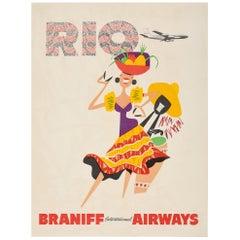 Original Vintage Brazil Travel Poster Rio De Janeiro by Braniff Intern'l Airways