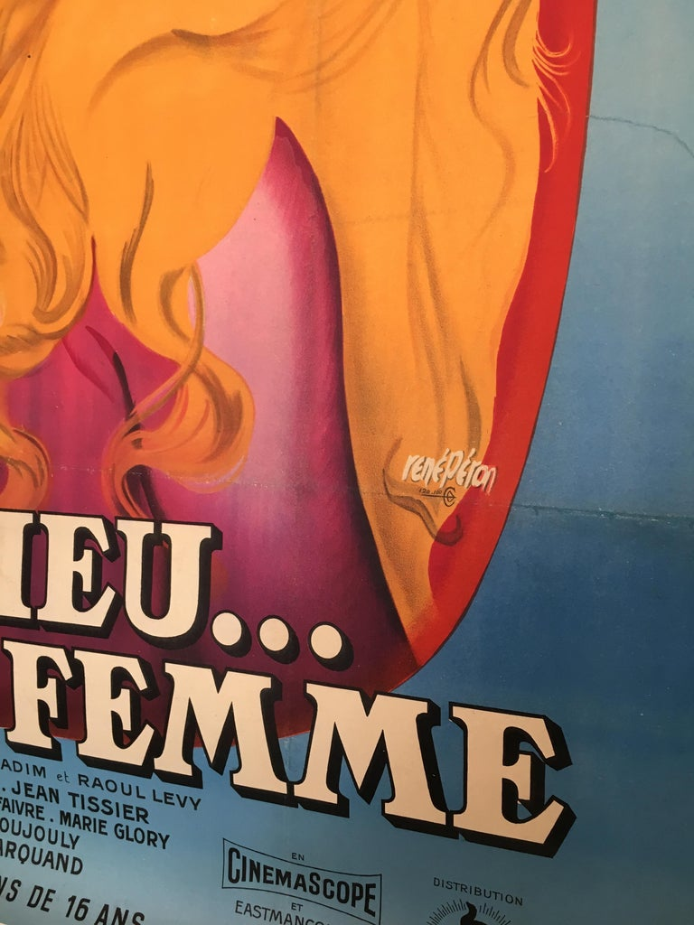 Original Vintage Brigitte Bardot French Film Poster 1956, and God Created Woman  In Good Condition For Sale In Melbourne, Victoria