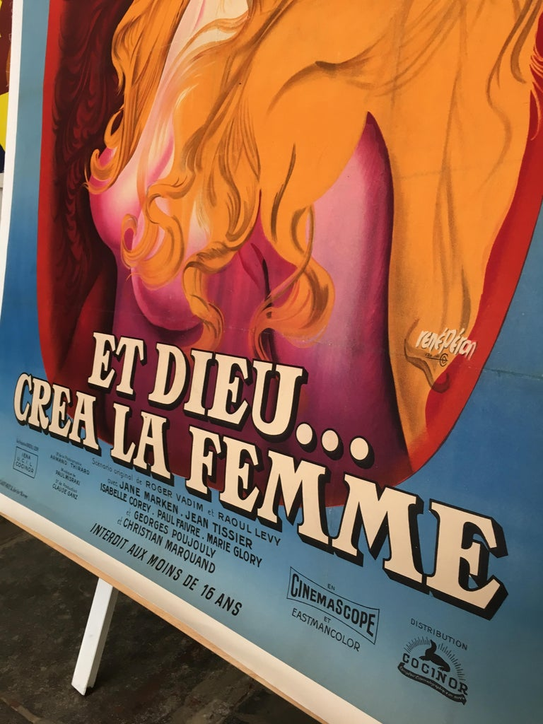 Paper Original Vintage Brigitte Bardot French Film Poster 1956, and God Created Woman  For Sale