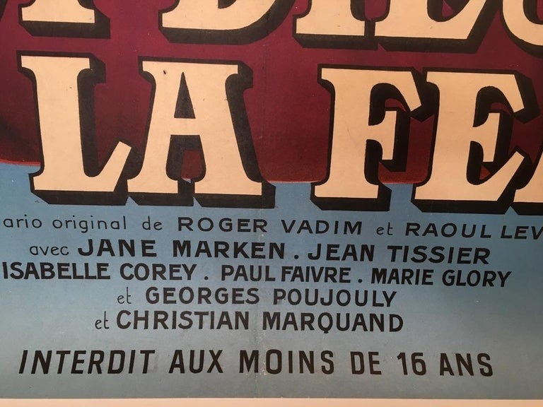 Original Vintage Brigitte Bardot French Film Poster 1956, and God Created Woman  For Sale 3