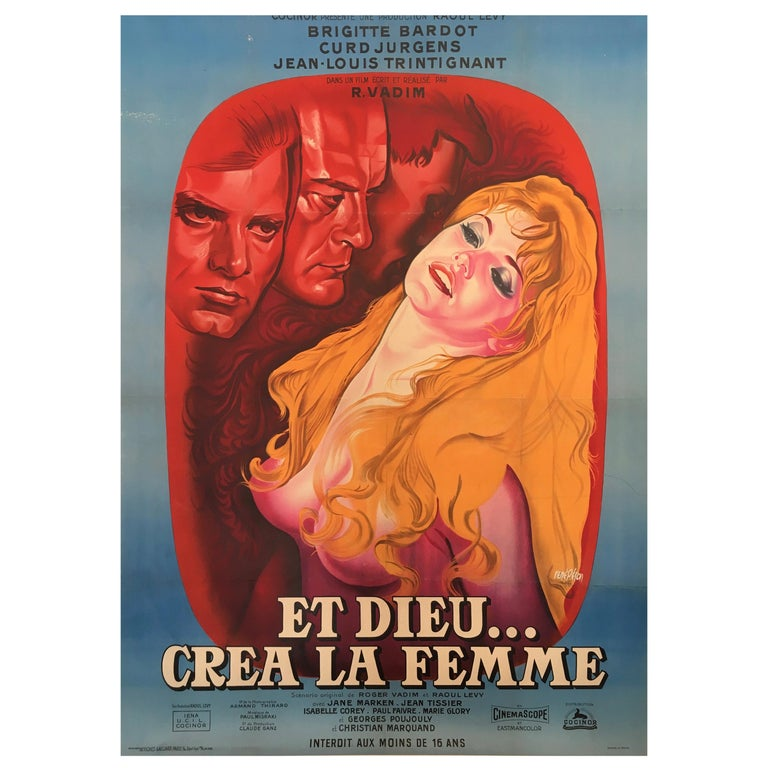 Original Vintage Brigitte Bardot French Film Poster 1956, and God Created Woman  For Sale