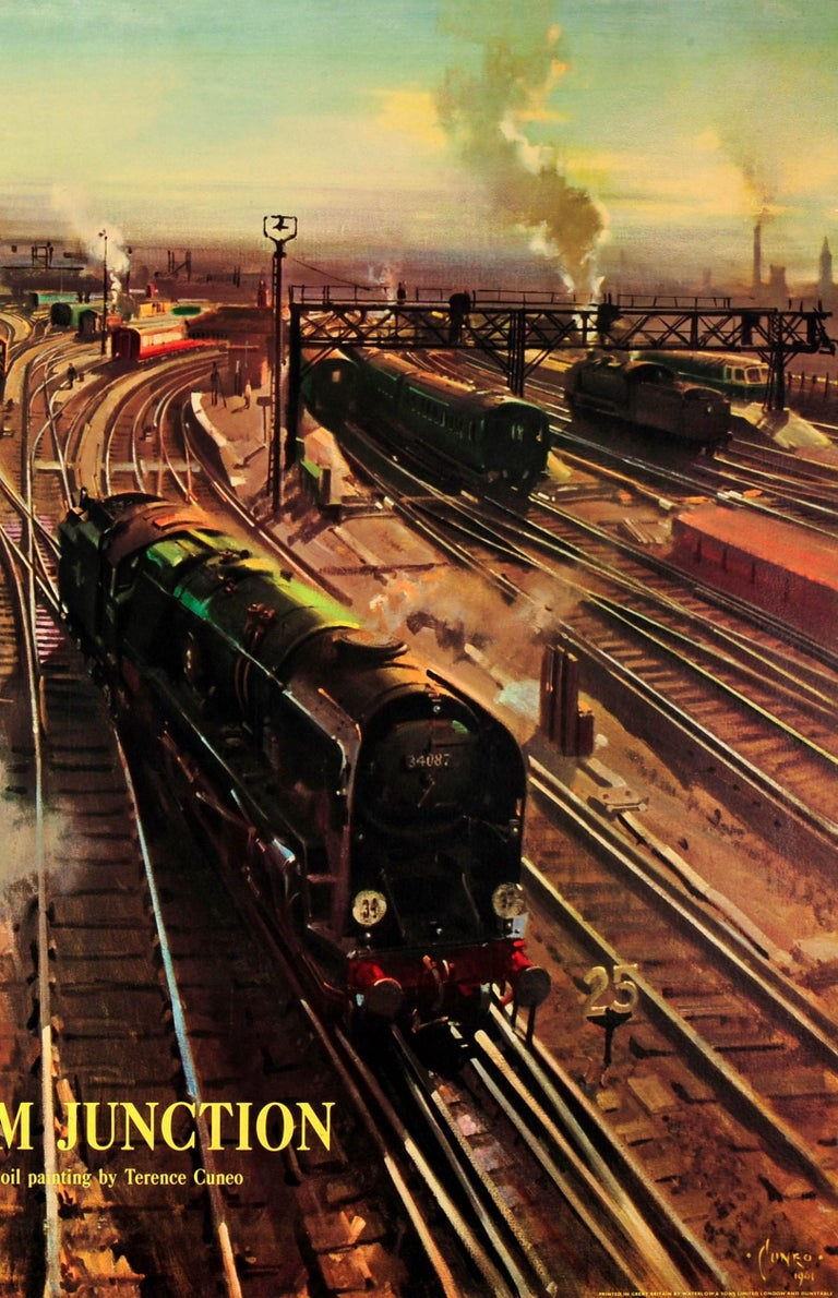 Original Vintage British Railway Poster Ft  Trains At Clapham Junction By  Cuneo