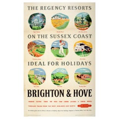Original Vintage British Railways Poster Brighton & Hove Regency Resorts Sussex