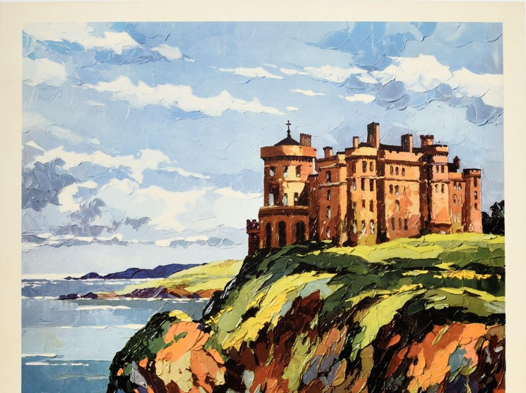 Original vintage British Railways poster for Culzean Castle on the Ayrshire Coast President Eisenhower's Scottish Home See Scotland by Train featuring a great painting of the historic Culzean Castle overlooking the Firth of Clyde on the Ayrshire