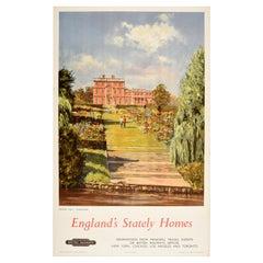 Original Vintage British Railways Poster England Stately Homes Newby Yorkshire