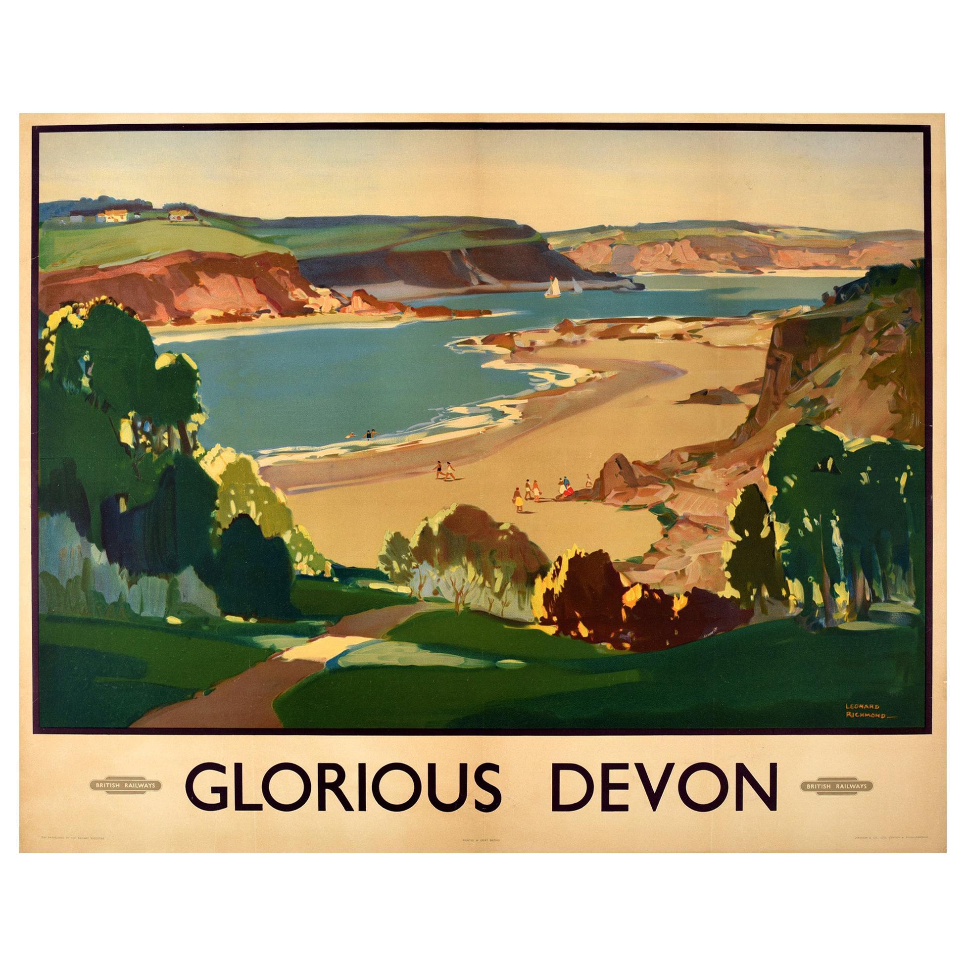Original Vintage British Railways Poster Glorious Devon Beach Sea Sailing Boats