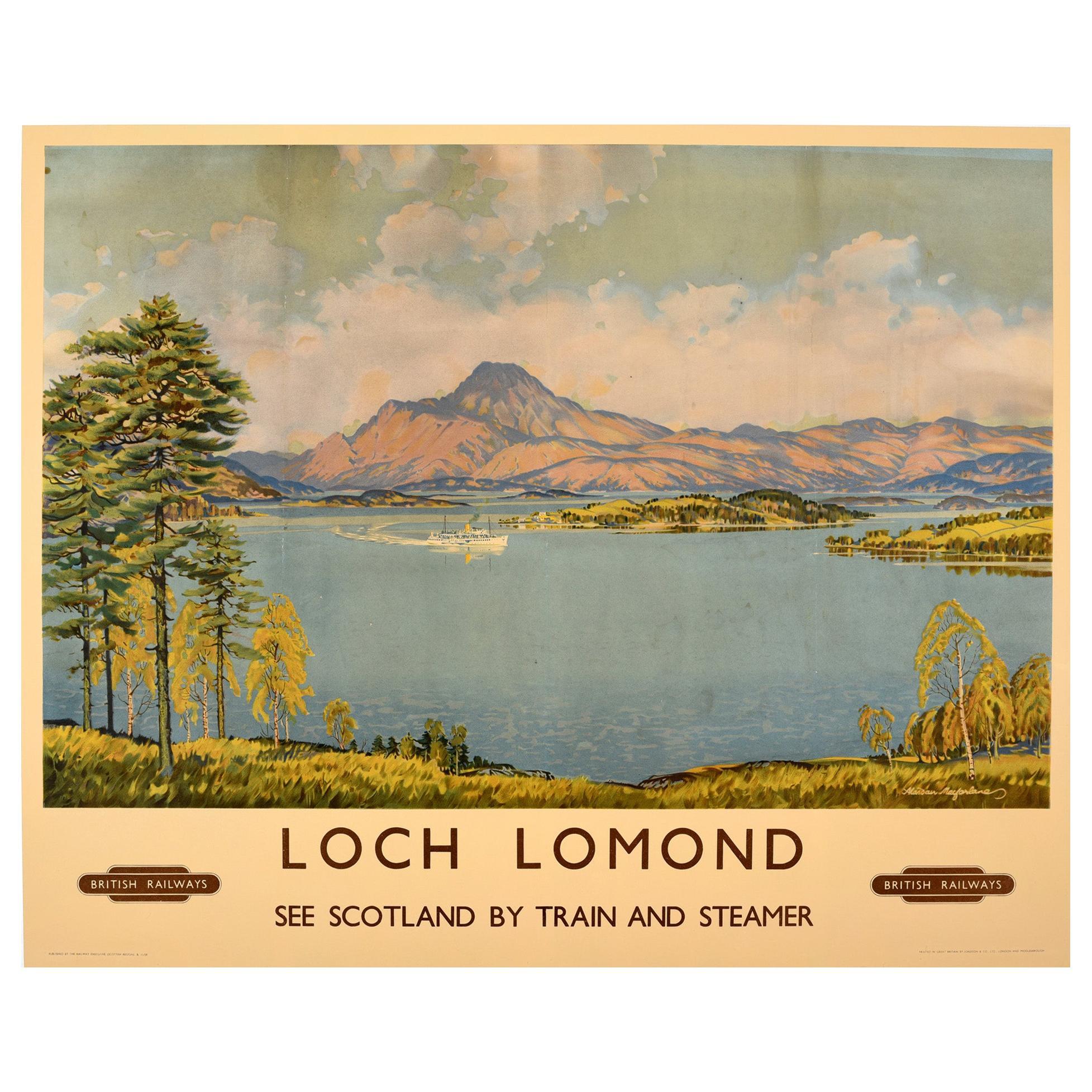 Original Vintage British Railways Poster Loch Lomond Scotland By Train & Steamer