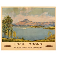 Original Vintage British Railways Poster Loch Lomond Scotland By Train & Steamer