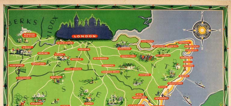 Original vintage travel poster for The Counties and Coastline of Southern England issued by British Railways – Served all the year round by frequent trains from London many through services from the Midlands and the North. Colorful illustrated map