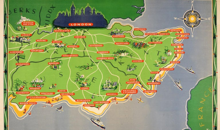 Original Vintage British Railways Poster Map Counties Coastline Southern England In Good Condition In London, GB