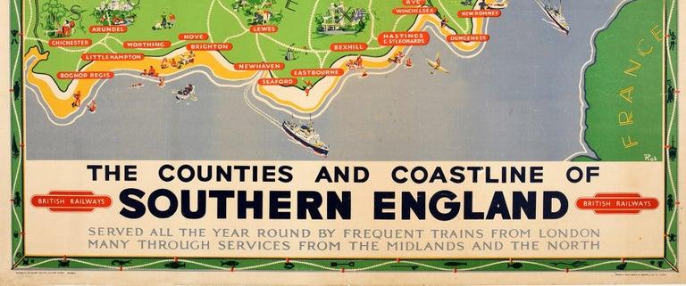 Mid-20th Century Original Vintage British Railways Poster Map Counties Coastline Southern England