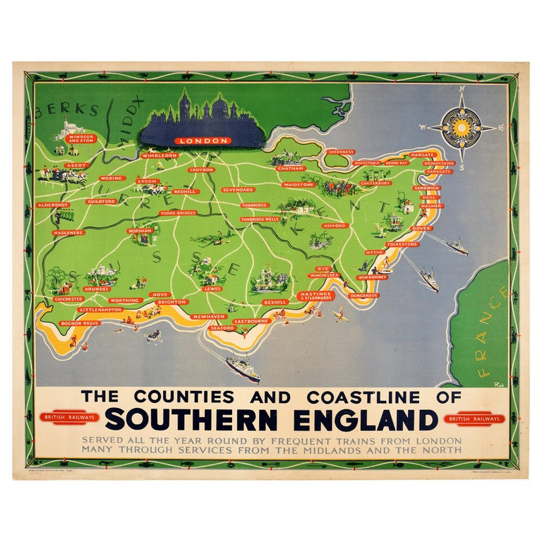 Original Vintage British Railways Poster Map Counties Coastline Southern England