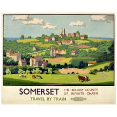 Original Vintage British Railways Poster Somerset Holiday County Infinite Charm