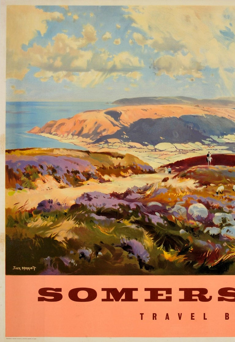 Original Vintage British Railways Poster Somerset Travel by Train Painting View In Good Condition For Sale In London, GB