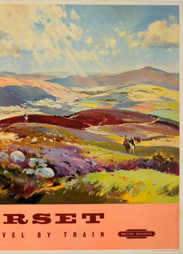 Mid-20th Century Original Vintage British Railways Poster Somerset Travel by Train Painting View For Sale