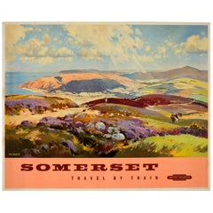 Original Vintage British Railways Poster Somerset Travel by Train Painting View