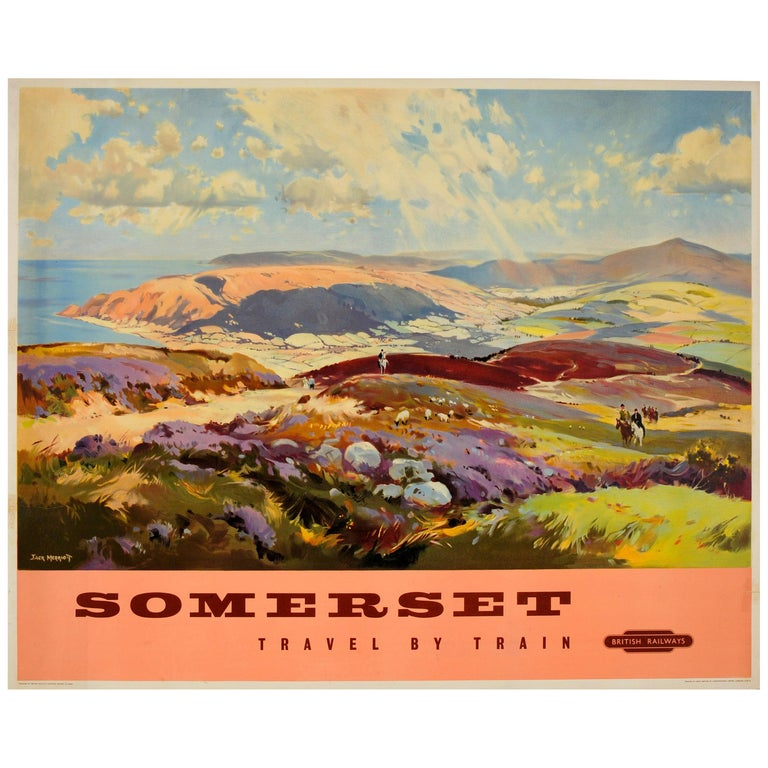 Original Vintage British Railways Poster Somerset Travel by Train Painting View For Sale