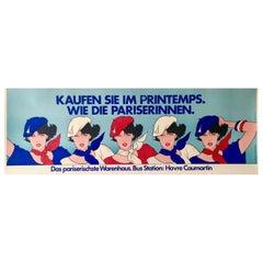 Original Vintage Bus Format Poster 'Printemps Pariserinnen'