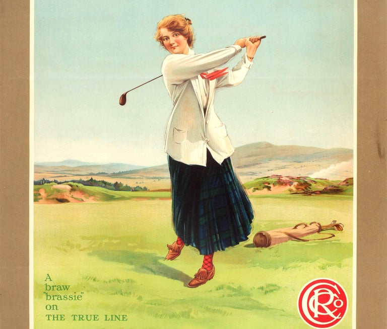 British Original Vintage Caledonian Railway Travel Advertising Poster The Golfing Girl For Sale