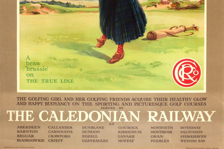 Original Vintage Caledonian Railway Travel Advertising Poster The Golfing Girl In Good Condition For Sale In London, GB