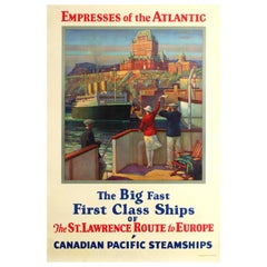 Original Vintage Canadian Pacific Steamships Poster - Empresses Of The Atlantic