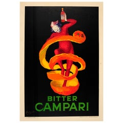 Original Vintage Cappiello Bitter Campari Drink Poster Iconic Orange Peel Design