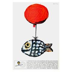Original Vintage Car Poster Citroen DS ID19 Hydropneumatique Balloon Fish Design