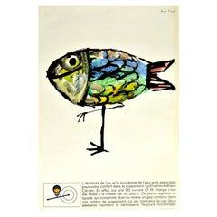 Original Vintage Car Poster Citroen DS ID19 Hydropneumatique Bird Fish Design