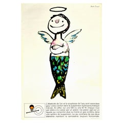 Original Vintage Car Poster Citroen DS ID19 Hydropneumatique Fish Angel Design