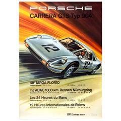 Original Vintage Car Poster Porsche Carrera GTS Typ 904 Auto Racing Motor Sport
