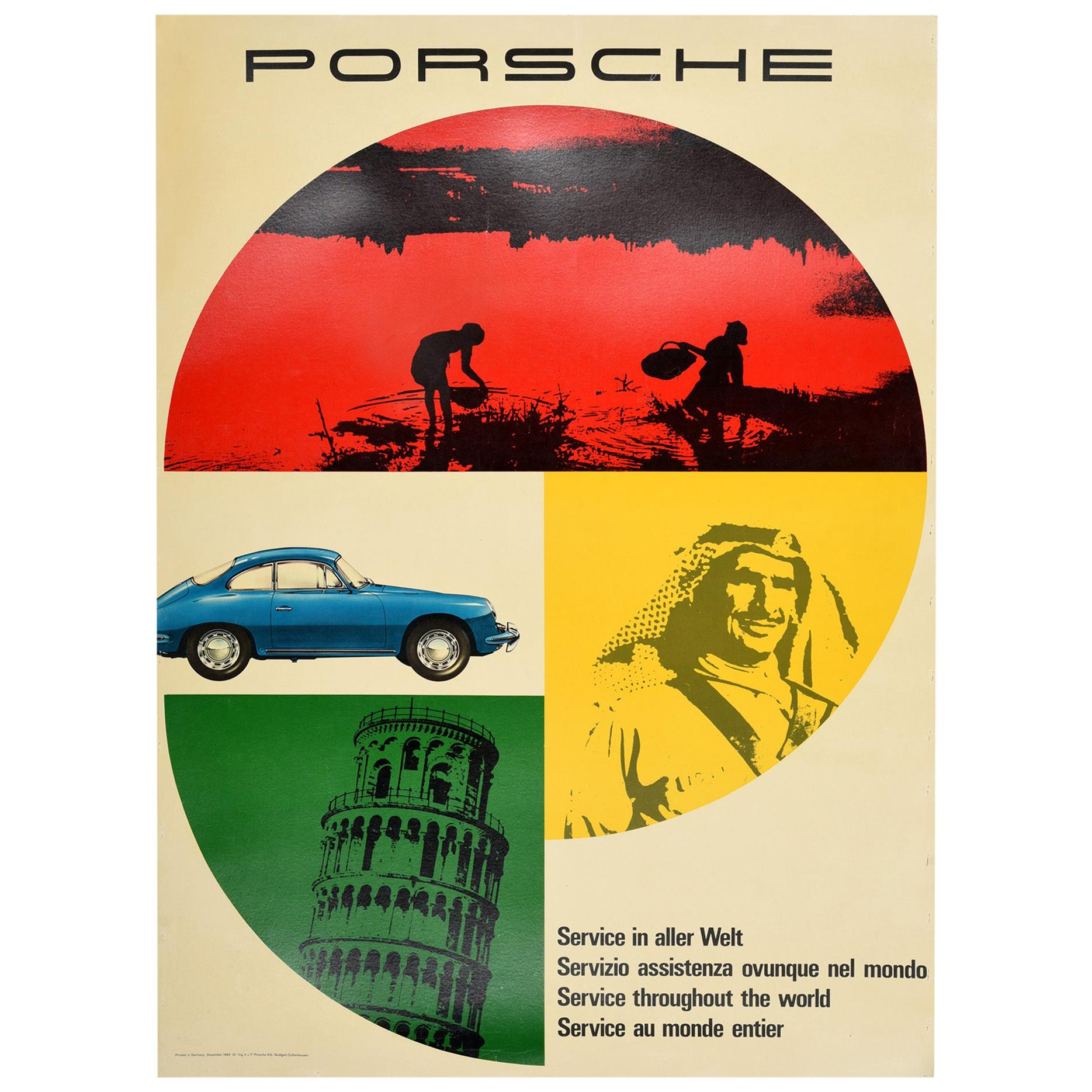 Original Vintage Car Poster Porsche Service In Aller Welt Throughout The World
