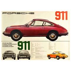 Original Vintage Car Poster Un Nom Qui Oblige Porsche 911 Auto Dealer Showroom