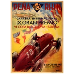Original Vintage Car Racing Poster Motor Sport Penya Rhin Grand Prix Gran Premio