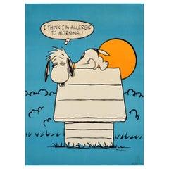 "Original Vintage Cartoon Dog Snoopy Poster ""I Think I'm Allergic to Morning..!"""
