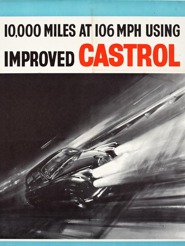 Original vintage advertising poster celebrating the racing achievements using Castrol motor oil featuring a dynamic design depicting a Jaguar car driving at speed on a track at night with the title in bold black and red lettering above 10,000 miles