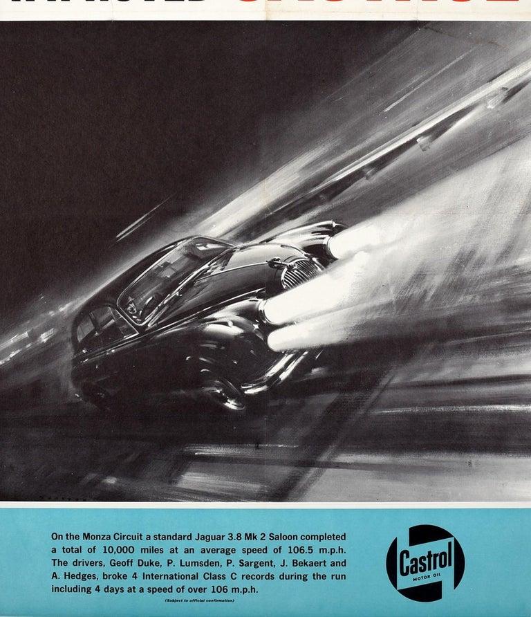 British Original Vintage Castrol Motor Racing Poster Monza Circuit Jaguar 3.8 Mark 2 Car For Sale
