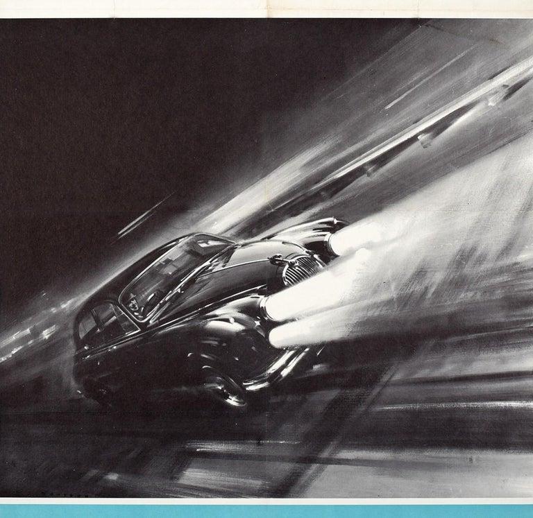 Original Vintage Castrol Motor Racing Poster Monza Circuit Jaguar 3.8 Mark 2 Car In Good Condition For Sale In London, GB