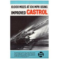Original Vintage Castrol Motor Racing Poster Monza Circuit Jaguar 3.8 Mark 2 Car