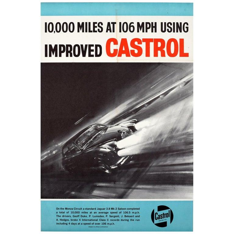 Original Vintage Castrol Motor Racing Poster Monza Circuit Jaguar 3.8 Mark 2 Car For Sale