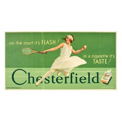 Original Vintage Chesterfield Cigarettes Advertising Poster Tennis Flash! Taste!