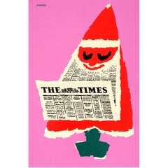 Original Vintage Christmas Tree Santa Design Poster for the Times Newspaper UK