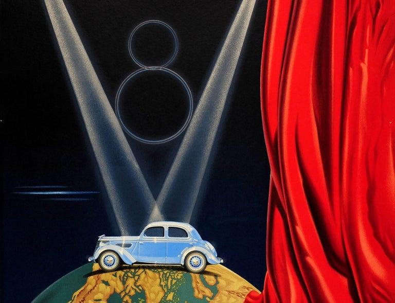 French Original Vintage Classic Car Advertising Poster Matford V8 Art Deco Stage Design For Sale