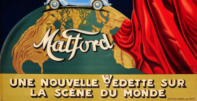 Original Vintage Classic Car Advertising Poster Matford V8 Art Deco Stage Design In Good Condition For Sale In London, GB