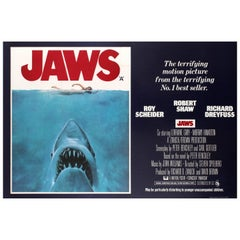 Original Vintage Classic Movie Poster for Spielberg's Thriller Film Jaws UK Quad