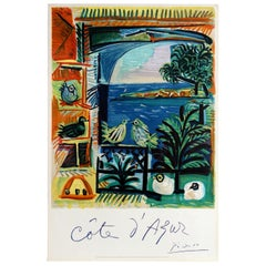 Original Vintage Cote D'Azur Travel Poster by Picasso French Riviera Sea View